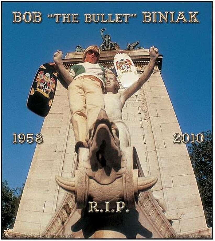 "Bob ""The Bullet"" Biniak in Columbus Circle New York City circa 1978.  From http://idealistpropaganda.blogspot.com Photo: Glen E. Friedman, Idealistpropaganda.blogspot.com"