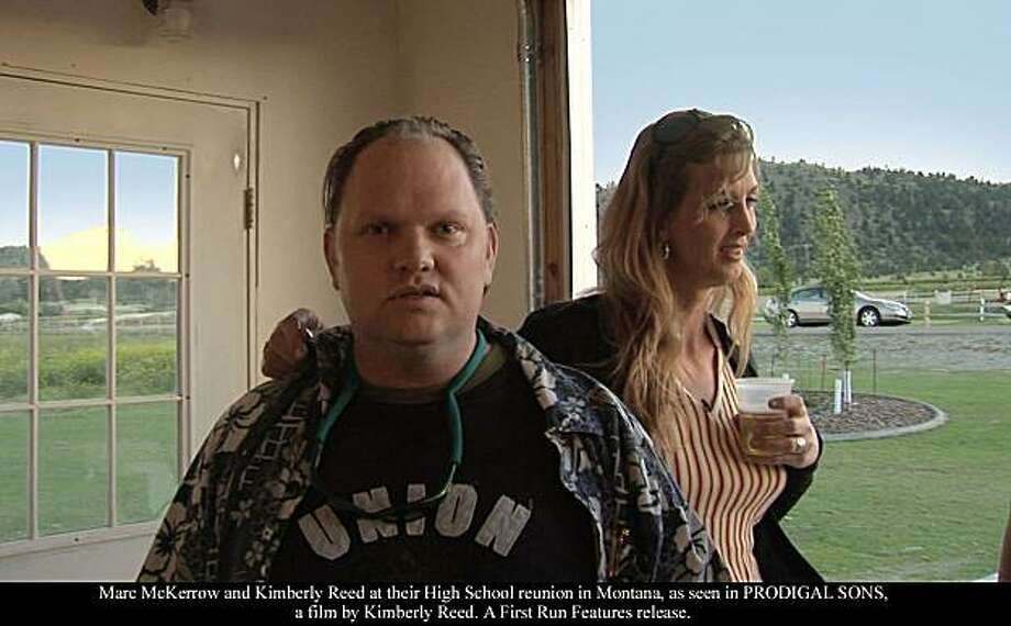 "Kimberly Reed (right), the former Paul McKerrow, and her brother Marc McKerrow at their 20th high school reunion in Montana in Reed's documentary, ""Prodigal Sons."" Marc McKerrow and Kimberly Reed at their High School reunion in Montana, as seen in PRODIGAL SONS, a film by Kimberly Reed. A First Run Features release. Photo: Big Sky Films"
