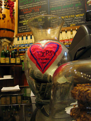 Tip jar from the Blue Front Cafe in the Upper Haight. Photo: Jillian Welsh