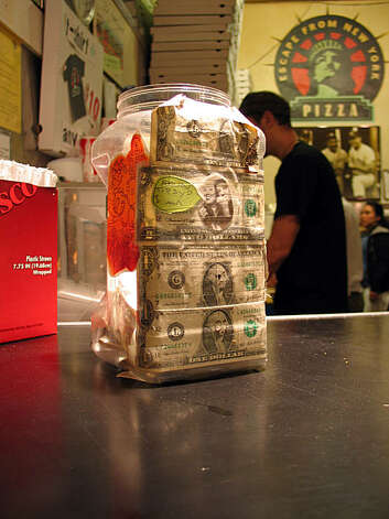 Tip jar from Escape from New York Pizza in the Upper Haight. Photo: Jillian Welsh