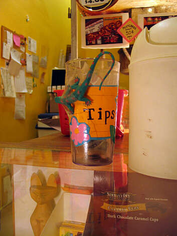 Tip jar from the Red Vic Movie House in the Upper Haight. Photo: Jillian Welsh