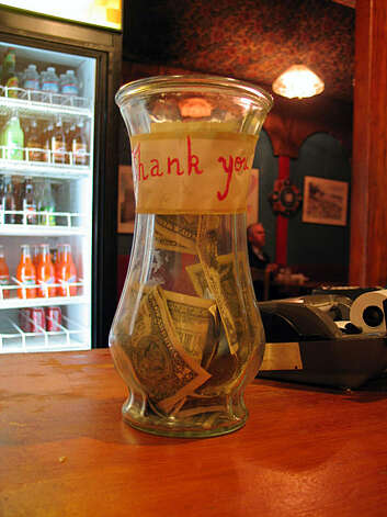 Tip jar from Ali Baba's Cave Cafe in the Lower Haight. Photo: Jillian Welsh