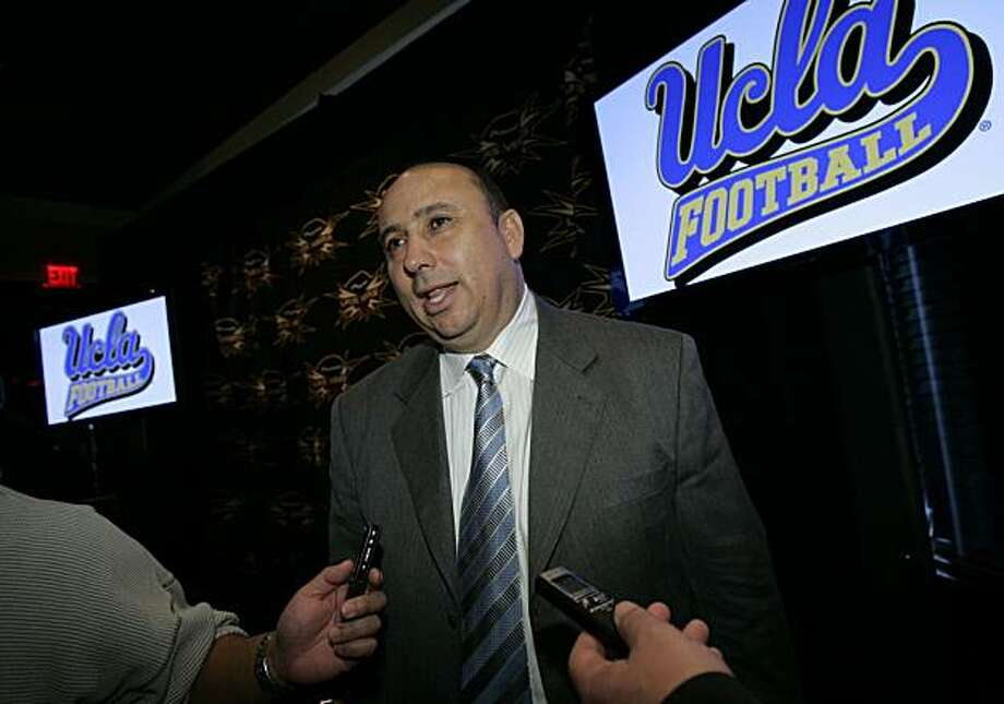 UCLA athletic director Dan Guerrero talks to reporters during a news conference Thursday, Dec. 6, 2007, in Las Vegas. UCLA will play against Brigham Young in the Las Vegas Bowl football game Saturday, Dec. 22. (AP Photo/Jae C. Hong) Photo: Jae C. Hong, AP