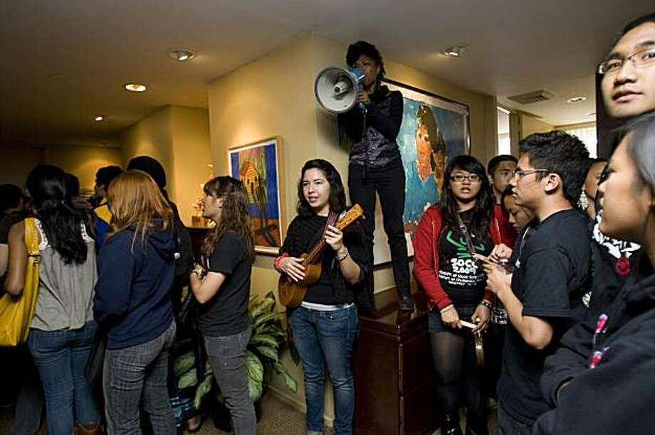 University of California, San Diego students occupy the Chancellor's office, Friday, Feb. 26, 2010 during a rally against racial intolerance after a noose was found dangling from a light fixture on the seventh floor of Geisel Library, Thursday in San Diego. Photo: Nelvin C. Cepeda, AP