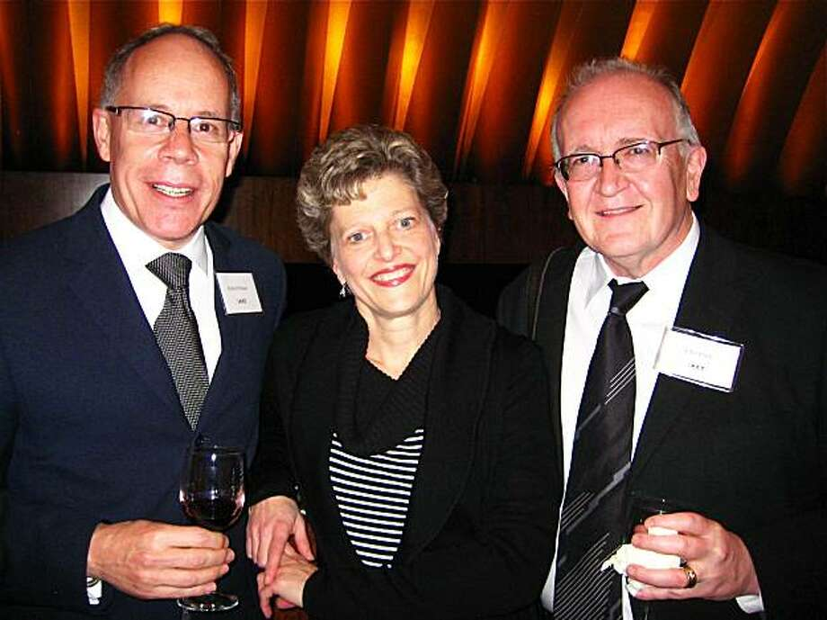 Robert Wilson (left) with ACT Artistic Director Carey Perloff and his partner, playright John Doyle at the opening of Doyle's adaptation of Bertolt Brecht's The Caucasian Chalk Circle Photo: Catherine Bigelow, Special To The Chronicle