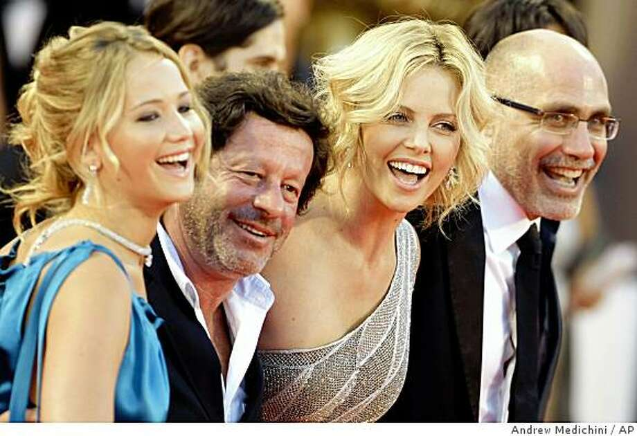 Actors Jennifer Lawrence, Joaquim De Almeida, Charlize Theron and director Guillermo Arriaga arrive for the screening of the movie 'The burning plain'  at the 65th edition of the Venice Film Festival in Venice, Italy, Friday, Aug. 29, 2008. Photo: Andrew Medichini, AP