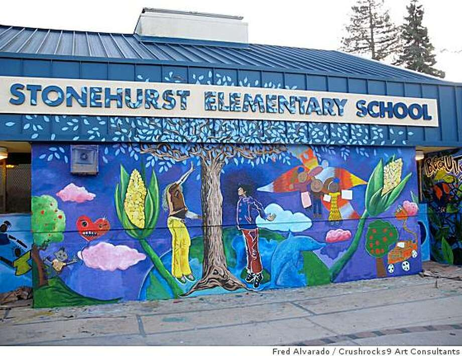 """Two Schools One Community"" Designed and Painted by Fred Alvarado, Caleb Duarte, Gerry Chow, Brenda Miller.  Located at Esperanza/Korimatsu Elementary Schools, E Street at 97th, Oakland Photo: Fred Alvarado, Crushrocks9 Art Consultants"