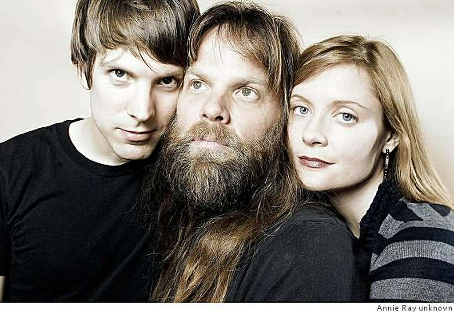 Shearwater are from left to right: Jonathan Meiburg, Kimberly Burke, Thor Harris Photo: Annie Ray Unknown