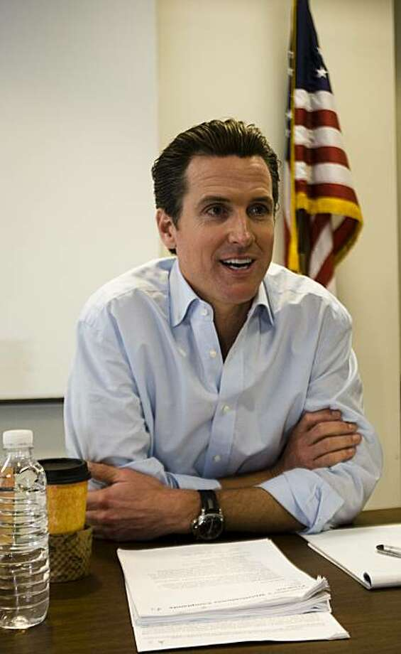 San Francisco Mayor Gavin Newsom spent Friday, February 19th meeting with citizens in the meeting room of the Tenderloin Police Station. People were allowed to make 15 minute appointments with Mayor Newsom to discuss any issues that concerned them. Photo by Ali Thanawalla. Photo: Ali Thanawalla, The Chronicle