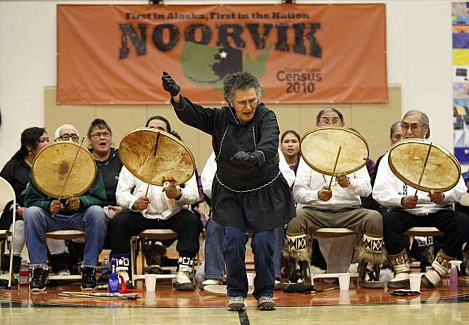 In this  Monday, Jan 25, 2010, photo, the Tikigiq Traditional Dancers from Point Hope, Alaska, perform during the Potlach festival events in the remote Inupiat Eskimo village Noorvik, Alaska., Monday, Jan 25, 2010, as part of the celebration of the launchof the nation's 2010 Census. Residents of Noorvik have now wholeheartedly embraced the ancient practice of Eskimo dancing outlawed in the Inupiat Eskimo settlement, which was established in 1914. Photo: Carolyn Kaster, AP