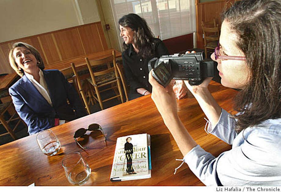 Christine Pelosi (middle) and documentary filmmaker Alexandra Pelosi (far, right), daughters of Speaker of the House Nancy Pelosi (left)  at Greens restaurant in Fort Mason in San Francisco, Calif., on Thursday, August 14, 2008. Photo: Liz Hafalia, The Chronicle