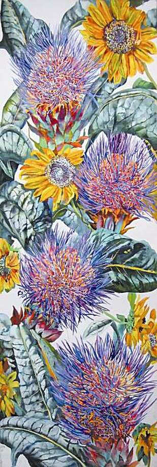 "Patricia Tobacco Forrester's ""Cardoon (2009)"", watercolor on paper 60x20 inches. Photo: Courtesy, Braunstein/Quay Gallery"
