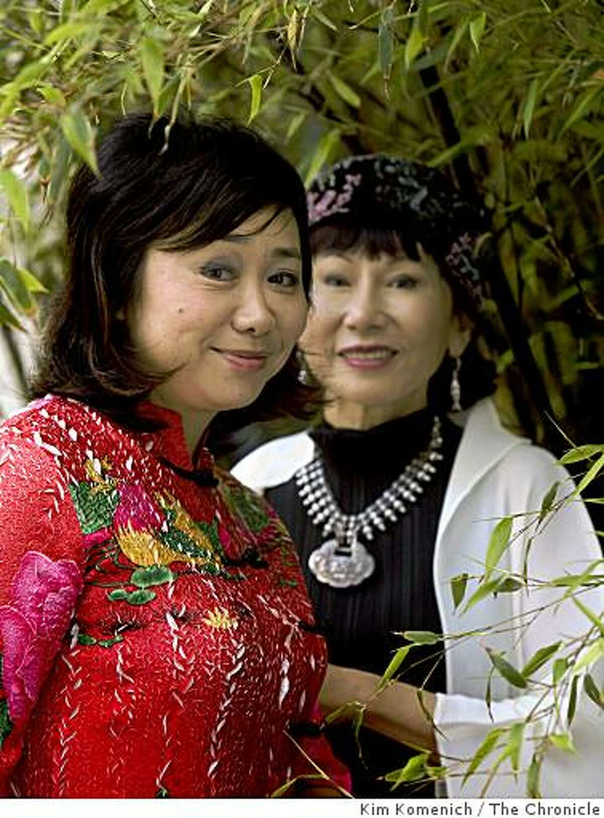 """Zheng Cao, left, the lead in the San Francisco Opera's new production """"The Bonesetter's Daughter"""" is photographed with the author Amy Tan in San Francisco, Calif., on Friday, Aug. 8, 2008."""