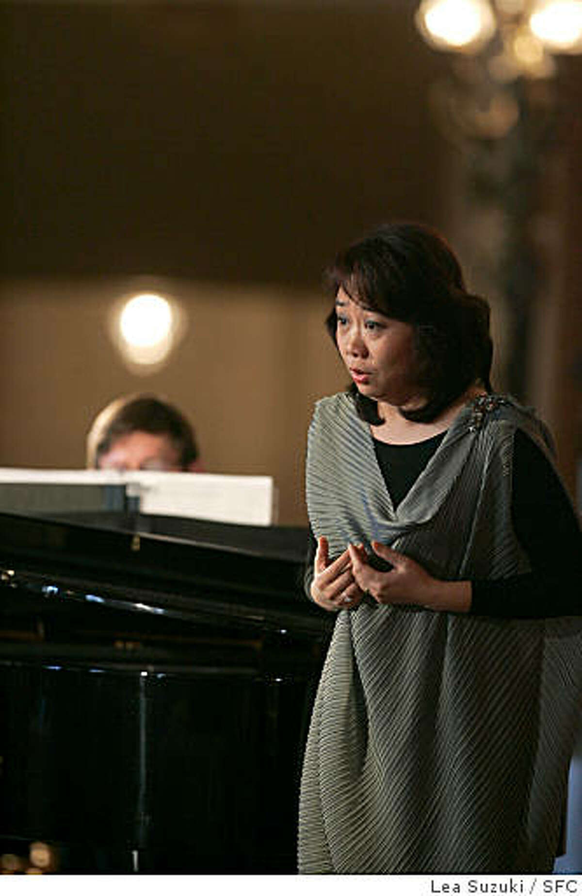 """Zheng Cao performs a piece from """"The Bonsetter's Daughter"""" at the San Francisco Opera announcement of the 2008-09 season at the War Memorial Opera House.Lea Suzuki / The Chronicle"""