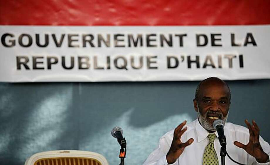 Haiti's President Rene Preval speaks during a news conference at the temporary presidential residence in Port-au-Prince, Tuesday Feb. 23, 2010. A powerful earthquake hit Haiti on Jan. 12. Photo: Javier Galeano, AP