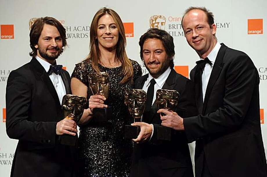 Mark Boal (L), Kathryn Bigelow (2nd L), Greg Shapiro (2nd R) and Nicholas Chartier pose for photographers with their British Academy of Film Award (BAFTA) for 'Best Film' for 'The Hurt Locker' at the Royal Opera House in central London, on February 21, 2010. Photo: Ben Stansall, AFP/Getty Images