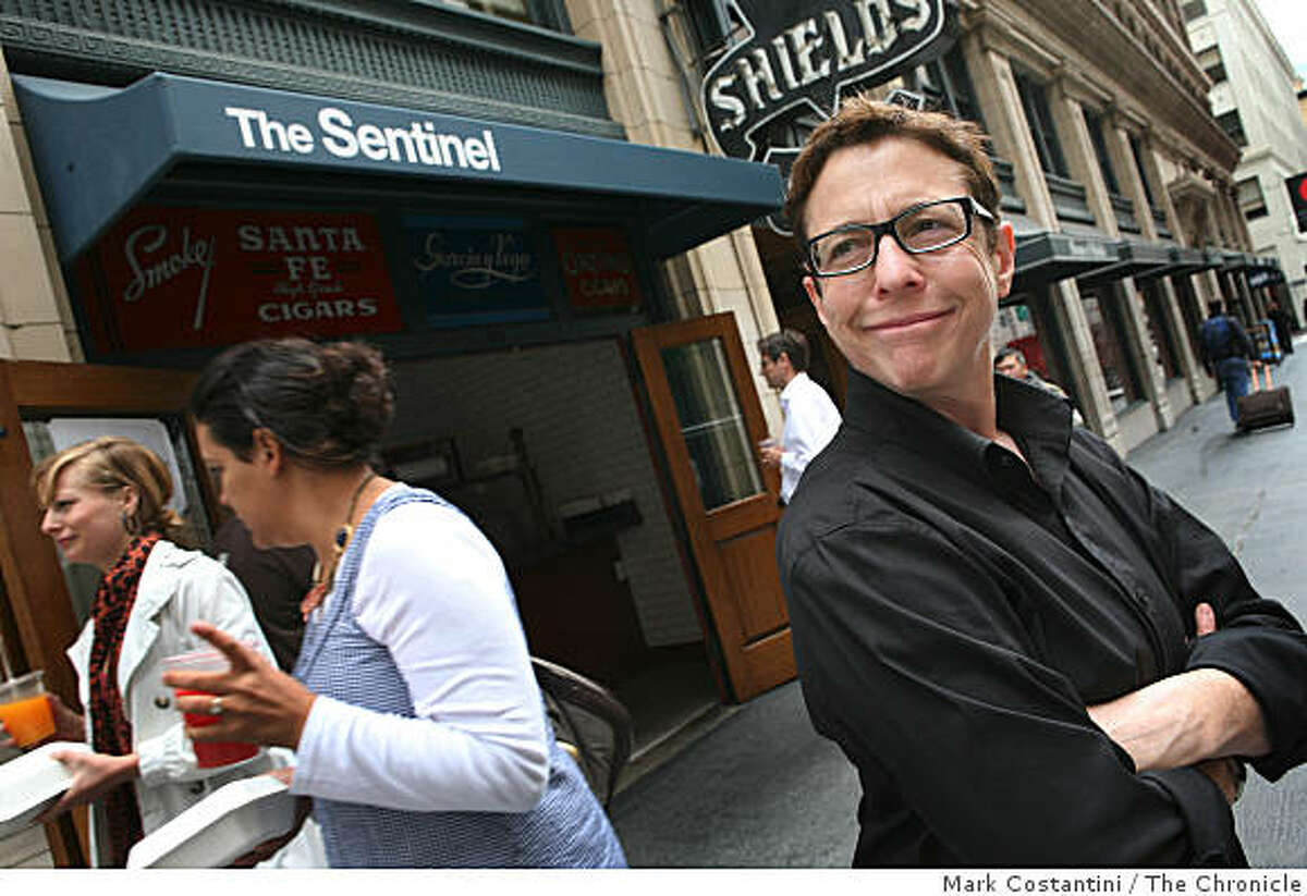 Jane Goldman, right, editor of CHOW.com poses in front of Sentinel, a sandwich shop in San Francisco, Calif., on Thursday, August 8, 2008.