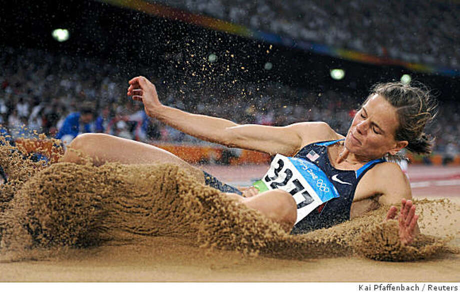 Grace Upshaw of the U.S. competes in the women's long jump athletics final  in the National Stadium at the Beijing 2008 Olympic Games August 22, 2008. Photo: Kai Pfaffenbach, Reuters