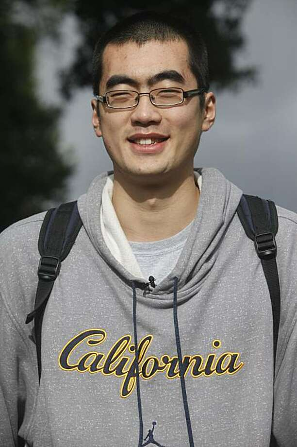 Cal Men's 7 foot tall basketball player, Max Zhang stands for a portrait in Sproul Plaza on the first day of the new semester on Tuesday January 19, 2010 in Berkeley, Calif. Photo: Mike Kepka, The Chronicle