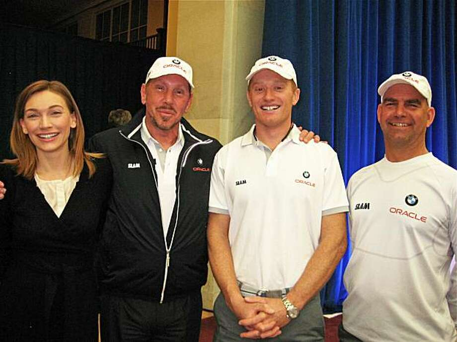 Melanie Ellison (at left) with her husband, Oracle/BMW Team owner Larry Ellison, skipper Jimmy Spithill and tactician John Kostecki at City Hall for the America's Cup reception. February 2010. Photo: Catherine Bigelow, Special To The Chronicle