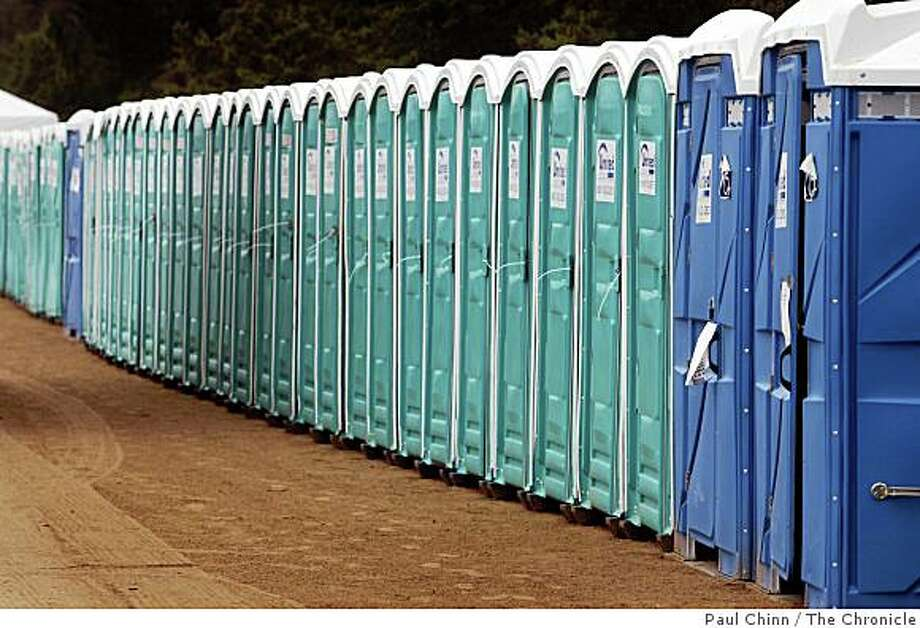 Six-hundred porta-potties await thousands of music fans at Golden Gate Park's Polo Field for this weekend's Outside Lands music festival in San Francisco, Calif., on Tuesday, Aug. 19, 2008.Headliners include Radiohead and Tom Petty and the Heartbreakers. Photo: Paul Chinn, The Chronicle