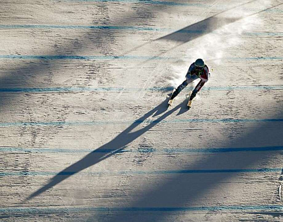Julia Mancuso, of the United States, competes in the women's super-G event at the Vancouver 2010 Olympics in Whistler, British Columbia, Saturday, Feb. 20, 2010. Photo: Charlie Riedel, AP