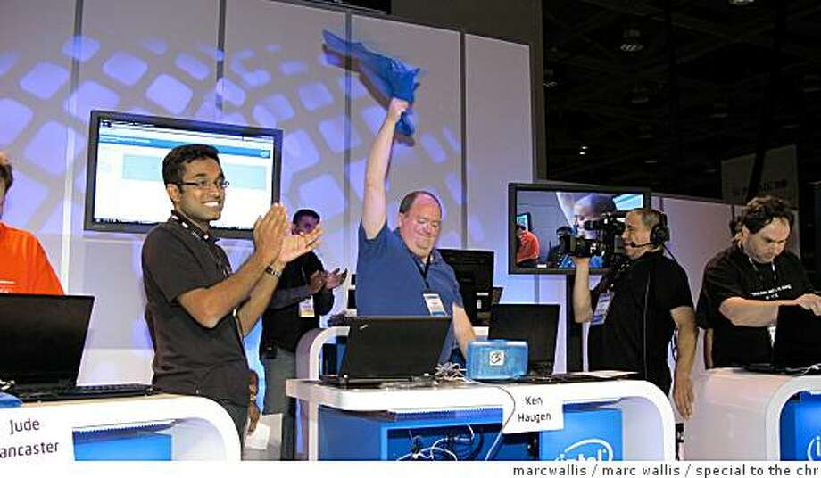 Intel Developer's Conference  Ultimate Geek Contest grand prize winner Ken Haugen celebrates.He was actually the winner of the Ultimate Geek Contest (UGC) last year. He won the Smart Car Photo: Marcwallis, Marc Wallis / Special To The Chr