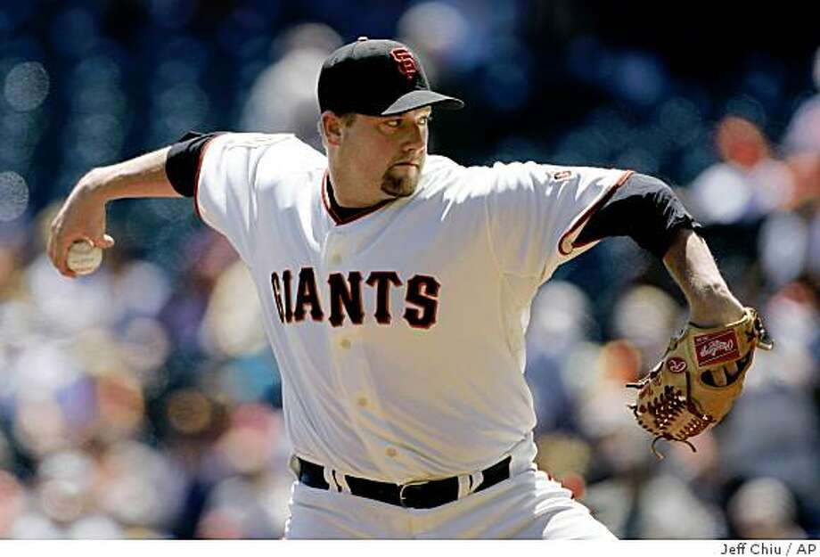 San Francisco Giants' Matt Palmer pitches to the Florida Marlins in the first inning of a baseball game in San Francisco, Thursday, Aug. 21, 2008. (AP Photo/Jeff Chiu) Photo: Jeff Chiu, AP