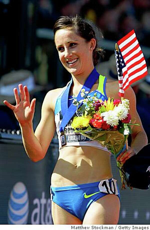 EUGENE, OR - JULY 06:  Shannon Rowbury celebrates after winning the gold medal in the women's 1,500 meter final during day eight of the U.S. Track and Field Olympic Trials at Hayward Field on July 6, 2008 in Eugene, Oregon.  (Photo by Matthew Stockman/Getty Images) Photo: Getty Images