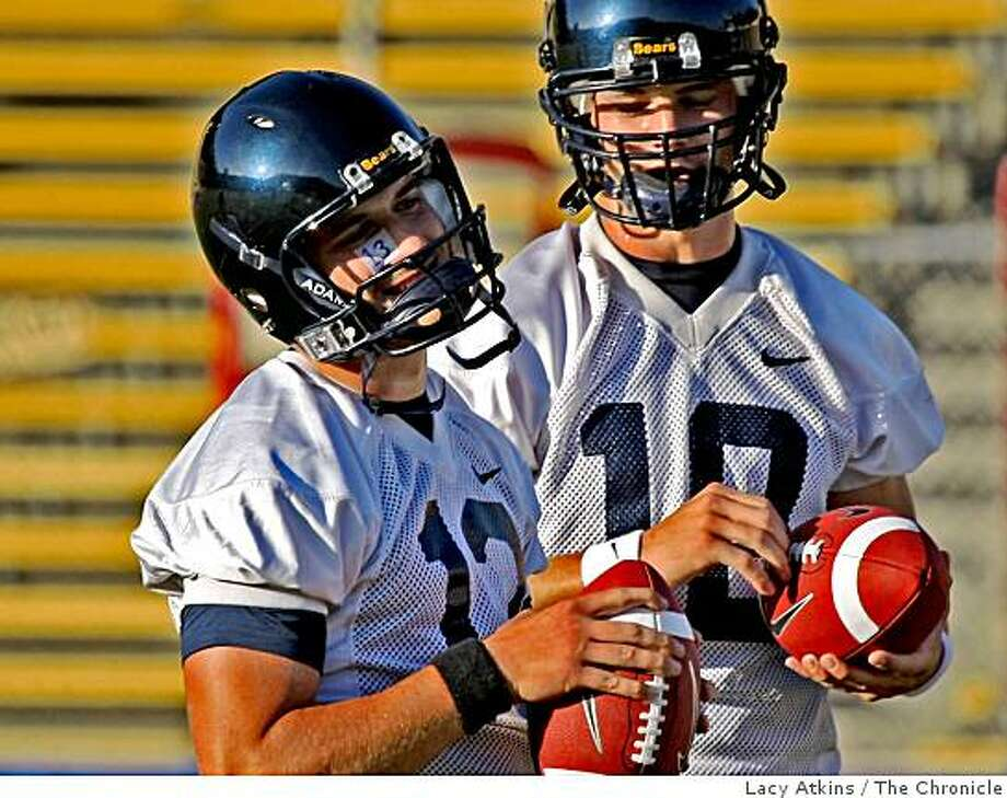 California quarterbacks Kevin Riley, left and Brock Mansion enjoy themselves during the opening practice, Monday Aug. 04, 2008 in Berkeley, Calif. Photo: Lacy Atkins, The Chronicle
