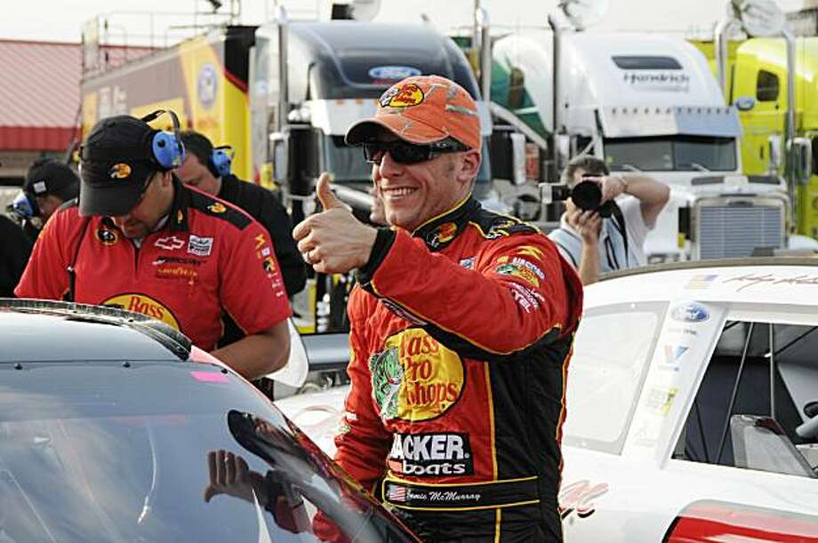 NASCAR Sprint Cup driver Jamie McMurray gives a thumbs-up after winning the pole position for the Auto Club 500 auto race at Auto Club Speedway in Fontana Calif., Friday, Feb. 19, 2010. Photo: Walt Weis, AP