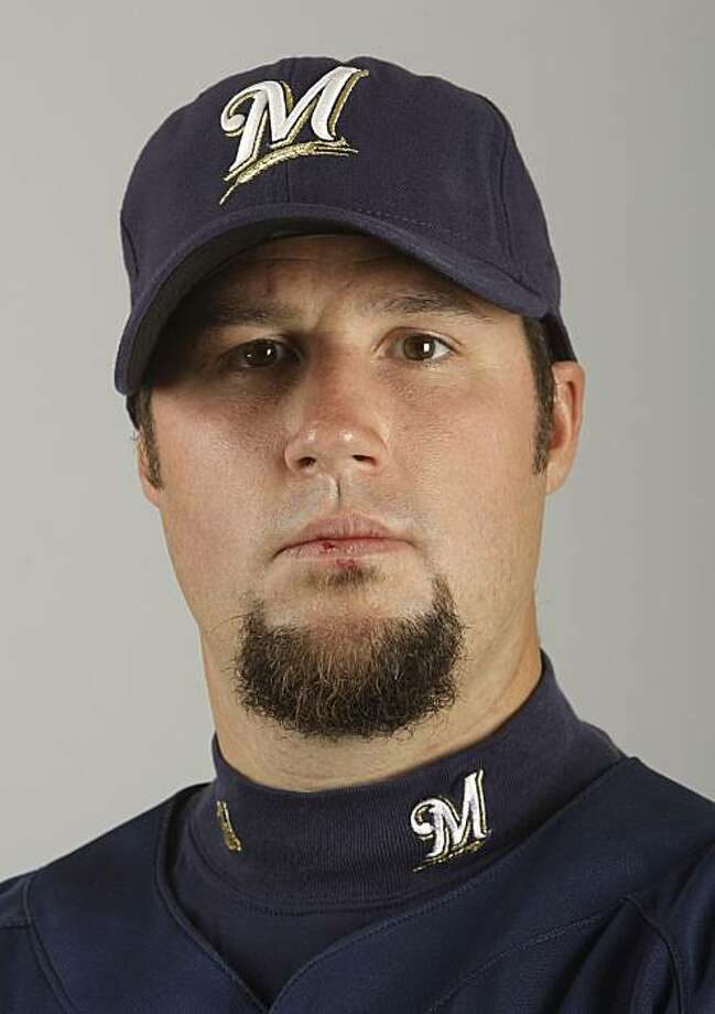 FILE - This 2009 file photo shows Milwaukee Brewers baseball player Eric Gagne. Former NL Cy Young Award winner Eric Gagne has agreed to a minor league contract with the Los Angeles Dodgers, a person familiar with the negotiations told The Associated Press.  Gagne would receive a $500,000, one-year contract if added to the 40-man roster, the person said Friday, Feb. 19, 2010, speaking on condition of anonymity because the deal had not been announced. Photo: Morry Gash, AP