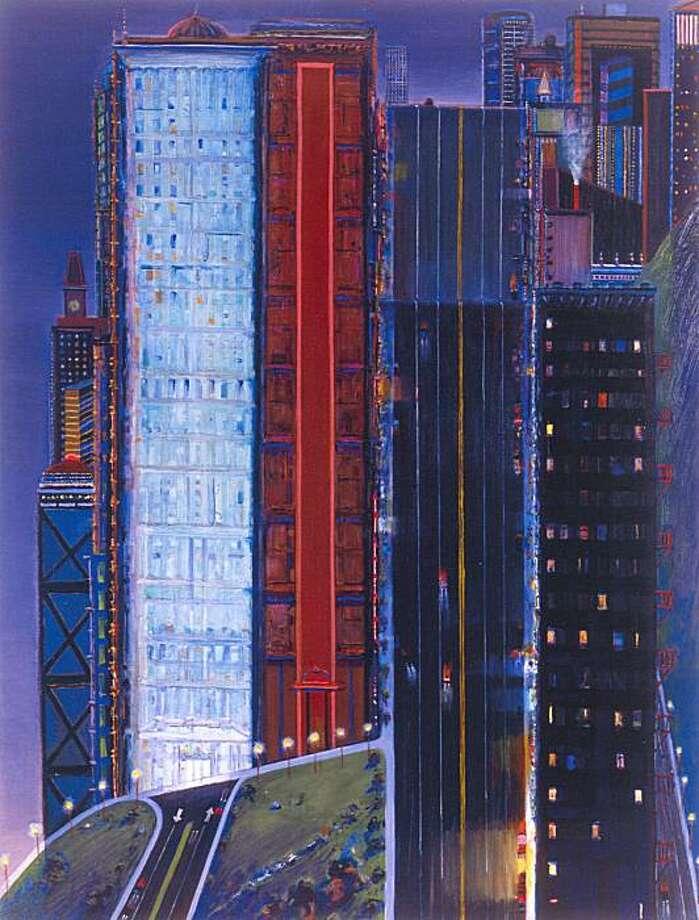 """Dark City"" (1999) oil on canvas by Wayne Thiebaud  72"" x 55"" Photo: Ira Shrank, Sixth Street Studio, Paul Thiebaud Gallery"