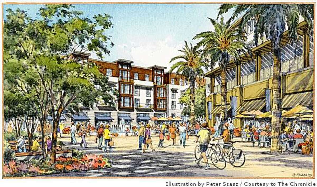 """This rendering of retail-lined residential buildings and a central plaza shows the """"town square"""" planned for a new district in San Mateo on land now occupied by Bay Meadows racetrack."""