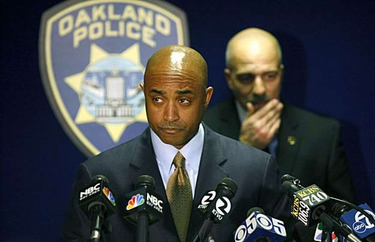 Oakland Police chief Anthony Batts along with Capt Ben Fairow, rear, addressed the media regarding the Board of Inquiry findings surrounding the murders of four Oakland Police officer on March 21st 2009 by Oakland resident Lovell Mixon. Jan. 6, 2010