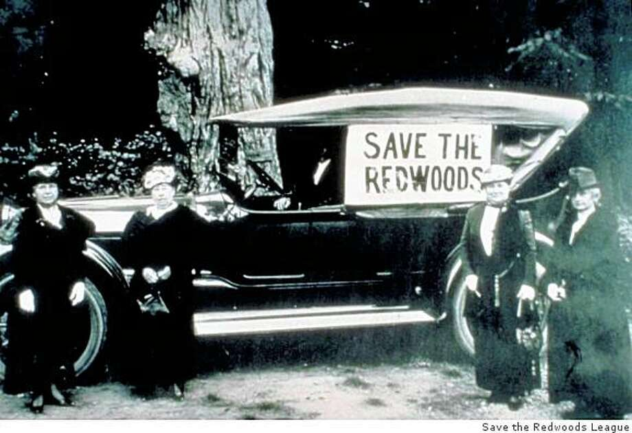 "An early ""save the redwoods"" rally in Humboldt County, somewhere between 1910 and 1920. Photo: Save The Redwoods League"