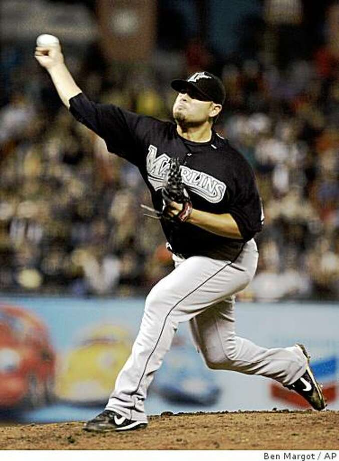 Florida Marlins' Ricky Nolasco works against the San Francisco Giants in the third inning of a baseball game Tuesday, Aug. 19, 2008, in San Francisco. (AP Photo/Ben Margot) Photo: Ben Margot, AP