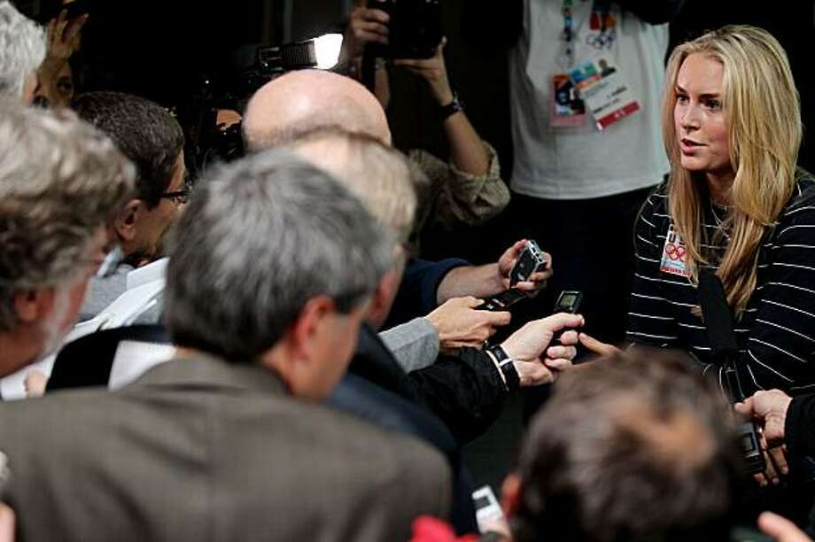 VANCOUVER, BC - FEBRUARY 10:  Lindsey Vonn of the USA Women's Alpine Skiing team speaks with the media after she announced she may not compete during  the Vancouver 2010 Winter Olympics at a press conference at the MPC on February 10, 2010 in Vancouver, Canada. Photo: Jamie Squire, Getty Images