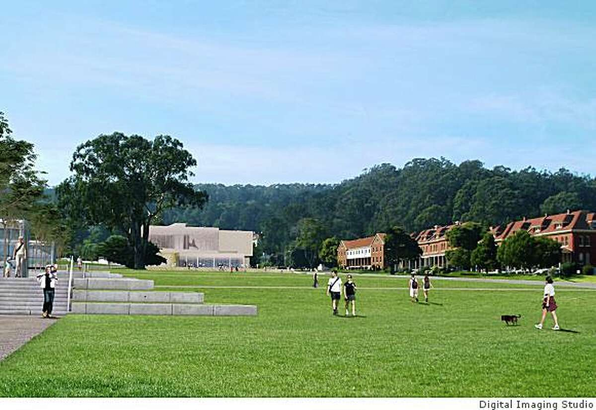 Proposed Contemporary Art Museum at the Presidio, from planned green that will replace a parking lot at the Main Post.