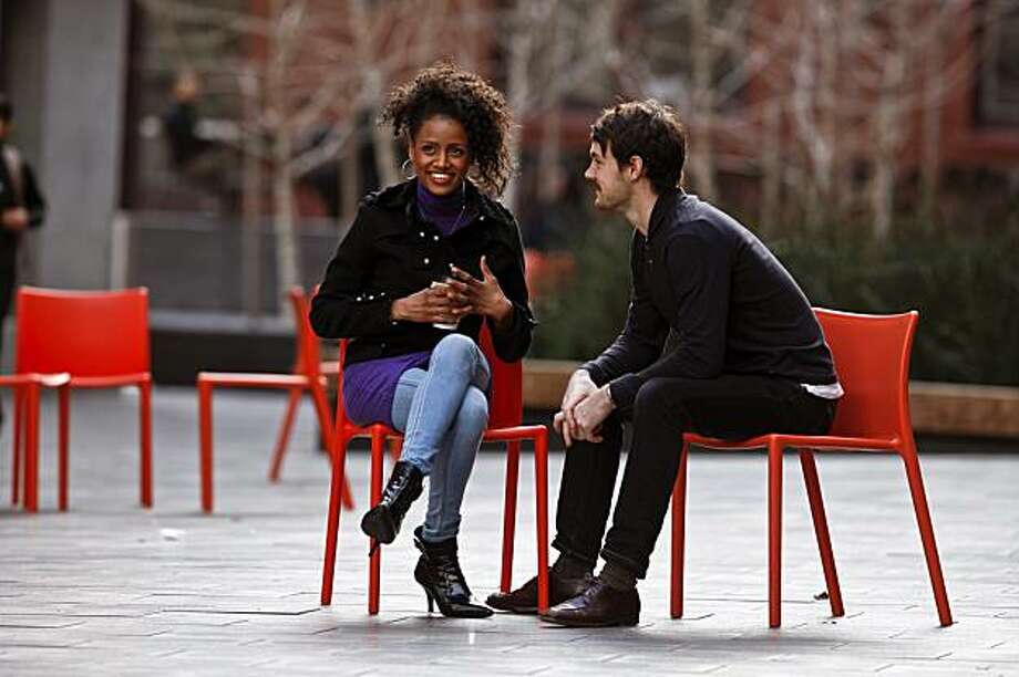 Lakisha May and Dan Wood Clegg from the American Conservatory Theater Master of Fine Arts Program act out three stages of dating on Wednesday, February 3, 2010 in San Francisco, Calif. Photo: Russell Yip, The Chronicle