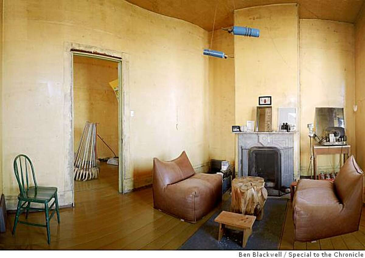View of the livingroom in David Ireland's house at 500 Capp Street, San Francisco. The house may be for sale or possibly destroyed.