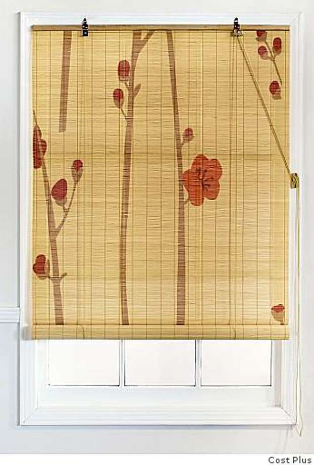 Painted matchstick blinds are made of bamboo, 3 feet by 6 feet, at Cost Plus, and come in two patterns. Photo: Cost Plus