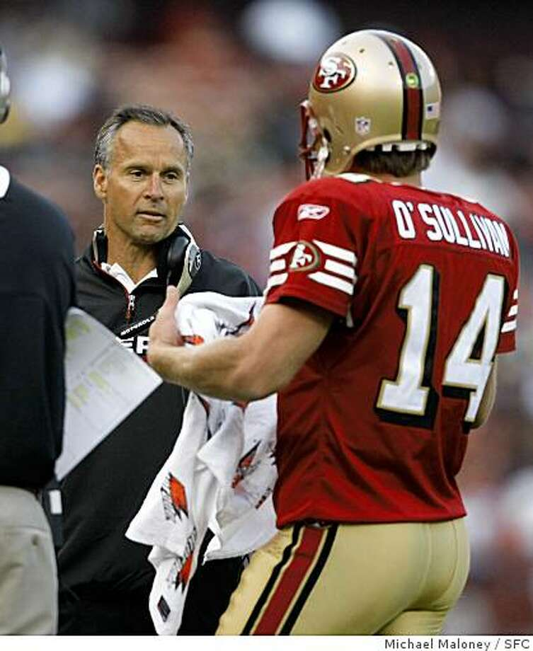 San Francisco 49ers head coach Mike Nolan talks to quarterback J.T. O'Sullivan during a 2nd quarter time out.The San Francisco 49ers host the Green Bay Packers in an NFL preseason game at Candlestick Park in San Francisco, Calif., on August 16, 2008. Photo: Michael Maloney, SFC