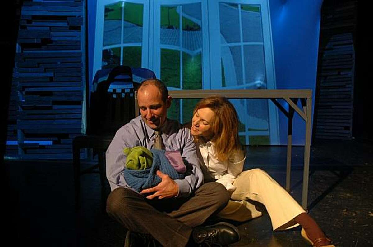 Brian Herndon (left) and Amy Resnick play a couple confronting parenthood in Geetha Reddy's