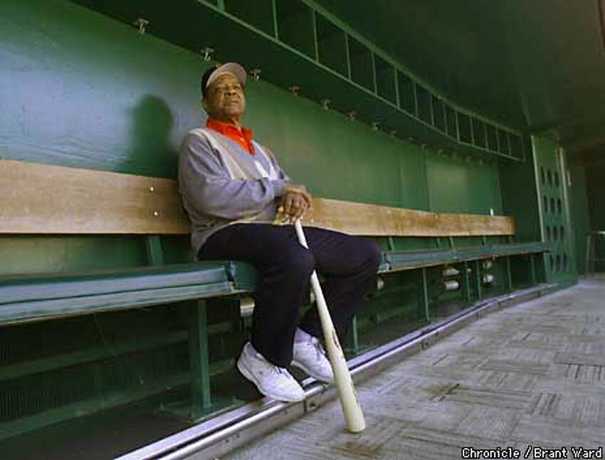 Willie Mays revisits the Giants dugout at Candlestick Park, just days before the ballparks last day. Chronicle Photo by Brant Ward