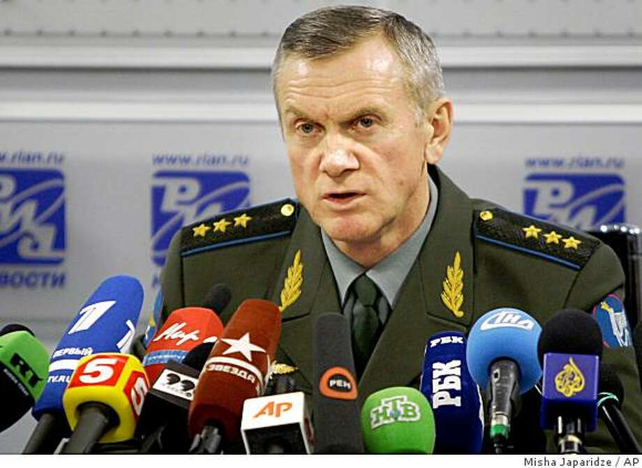 Russian Col. Gen. Anatoly Nogovitsyn, deputy chief of the General Staff of the Russian armed forces, speaks at a news conference in Moscow, Sunday, Aug. 10, 2008. Nogovitsyn said that Russian warplanes only targeted Georgian lines of supply and didn't hit civilian targets. (AP Photo/Misha Japaridze) Photo: Misha Japaridze, AP
