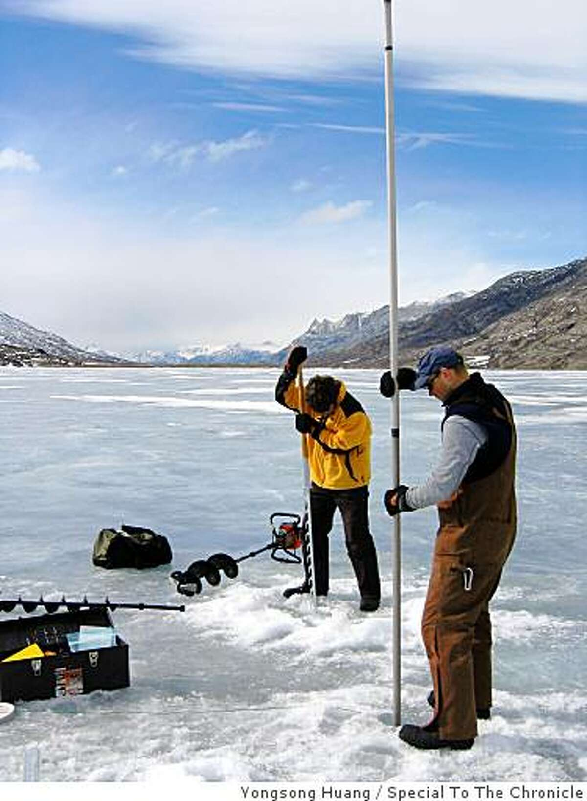 Coring a lake near Paradise Valley, SW Greenland