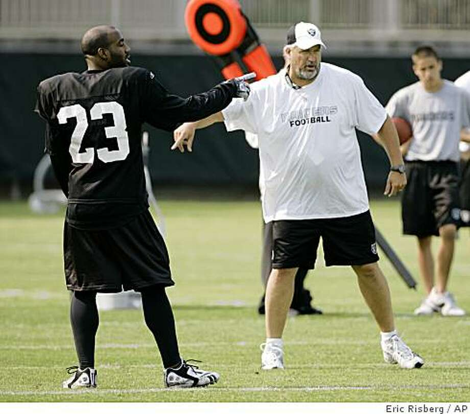 Oakland Raiders cornerback DeAngelo Hall, left, and defensive coordinator Rob Ryan, right, gesture during workouts at their football training camp in Napa, Calif., Friday, July 25, 2008.  (AP Photo/Eric Risberg) Photo: Eric Risberg, AP