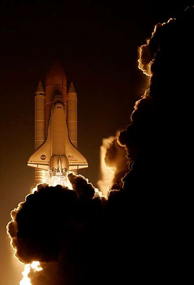 CAPE CANAVERAL, FL - FEBRUARY 08:  Space Shuttle Endeavour lifts off from launch pad 39A at NASA's Kennedy Space Center February 8, 2010 in Cape Canaveral, Florida. The 13-day flight to the International Space Station is Endeavour's 24th mission, the 33rdshuttle flight dedicated to station assembly and one of the last five flights of the shuttle program, which is scheduled to finish in September. Photo: Eliot J. Schechter, Getty Images