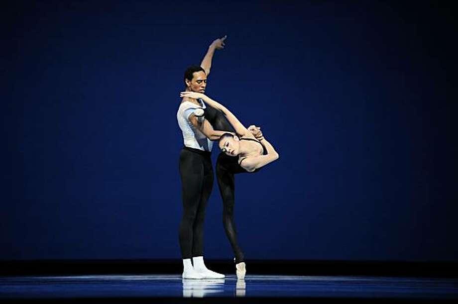 Yuan Yuan Tan and Anthony Spaulding in Balanchine's Stravinsky Violin Concerto. Photo: Erik Tomasson, Courtesy SF Ballet